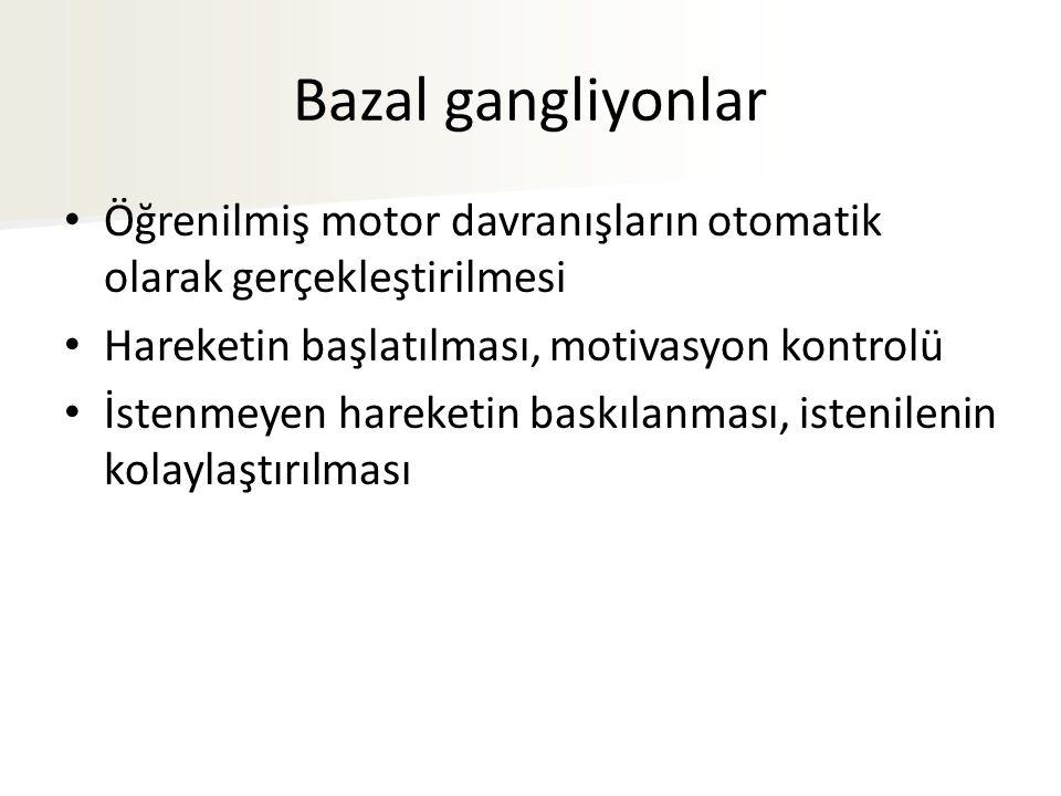 Bazal gangliyonlar Öğrenilmiş motor davranışların otomatik olarak gerçekleştirilmesi. Hareketin başlatılması, motivasyon kontrolü.