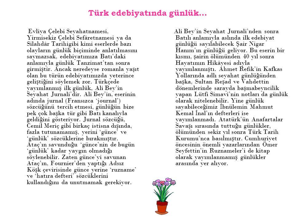Türk edebiyatında günlük…