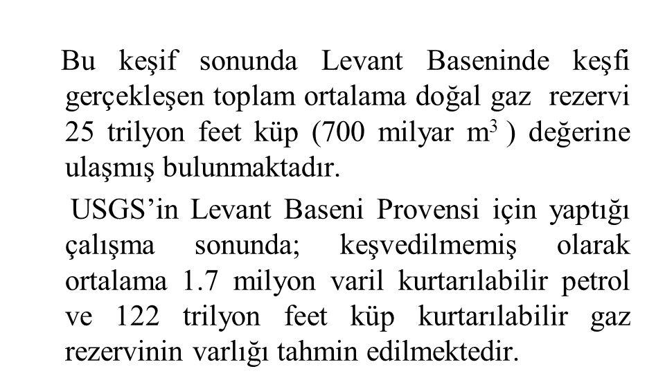 Bu keşif sonunda Levant Baseninde keşfi gerçekleşen toplam ortalama doğal gaz rezervi 25 trilyon feet küp (700 milyar m3 ) değerine ulaşmış bulunmaktadır.