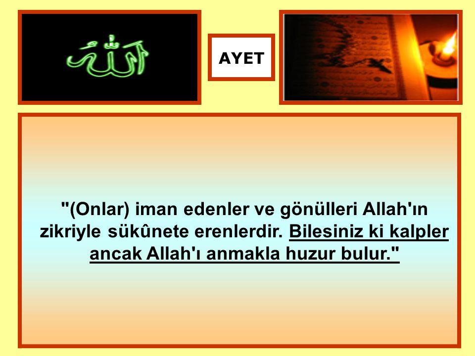 AYET (Onlar) iman edenler ve gönülleri Allah ın zikriyle sükûnete erenlerdir.