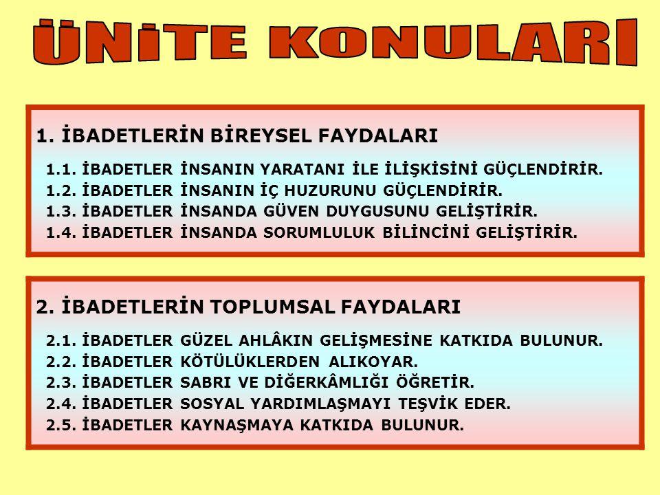 ÜNİTE KONULARI 1. İBADETLERİN BİREYSEL FAYDALARI