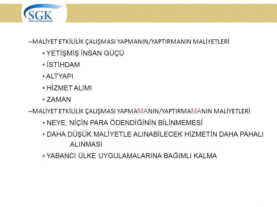MALİYET ETKİLİLİK ÇALIŞMASI YAPMANIN/YAPTIRMANIN MALİYETLERİ