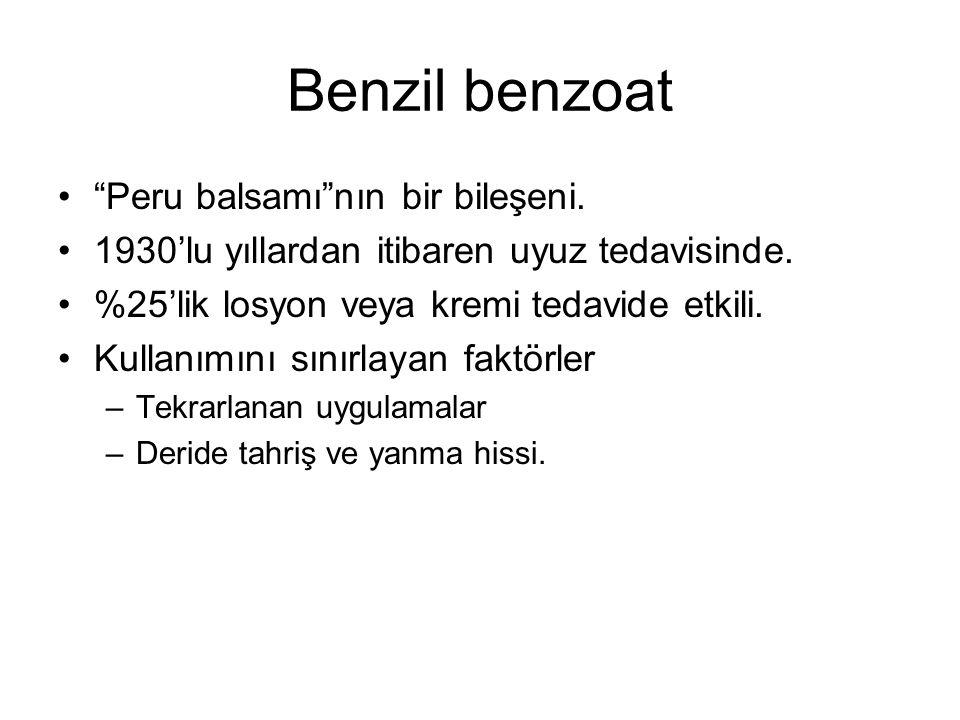 Benzil benzoat Peru balsamı nın bir bileşeni.