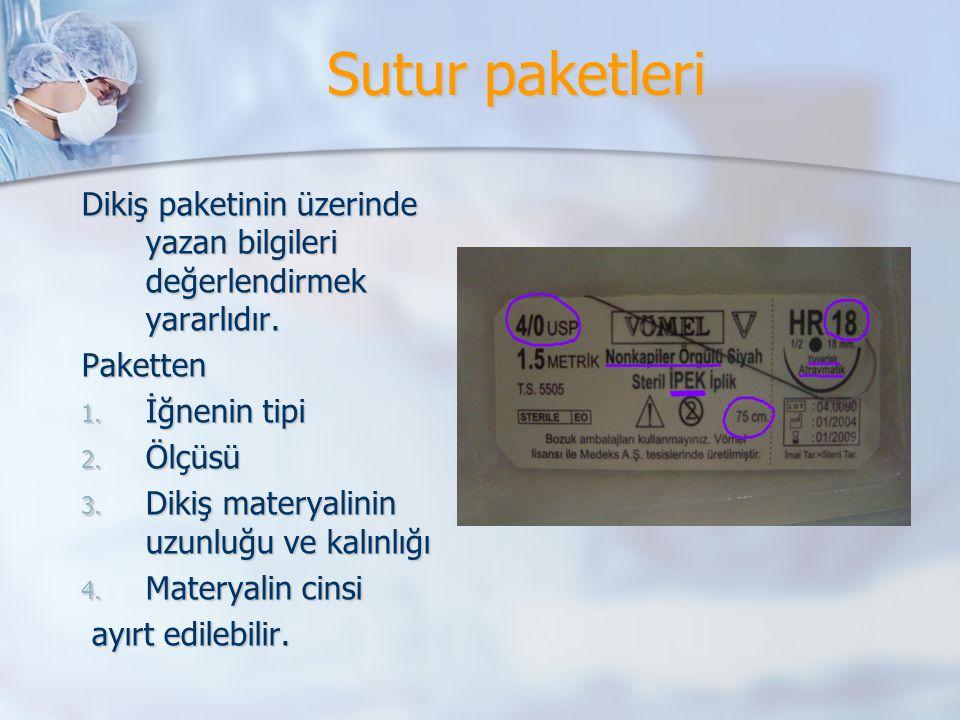 Sutur paketleri Dikiş paketinin üzerinde yazan bilgileri değerlendirmek yararlıdır. Paketten. İğnenin tipi.