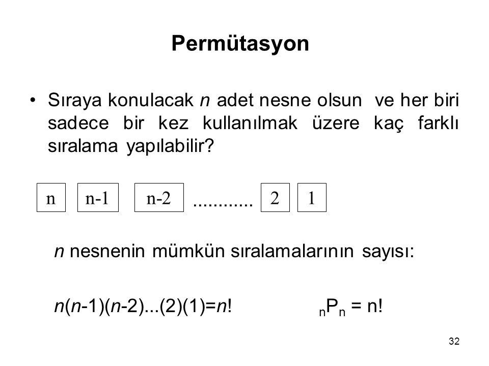 Permütasyon Sıraya konulacak n adet nesne olsun ve her biri sadece bir kez kullanılmak üzere kaç farklı sıralama yapılabilir