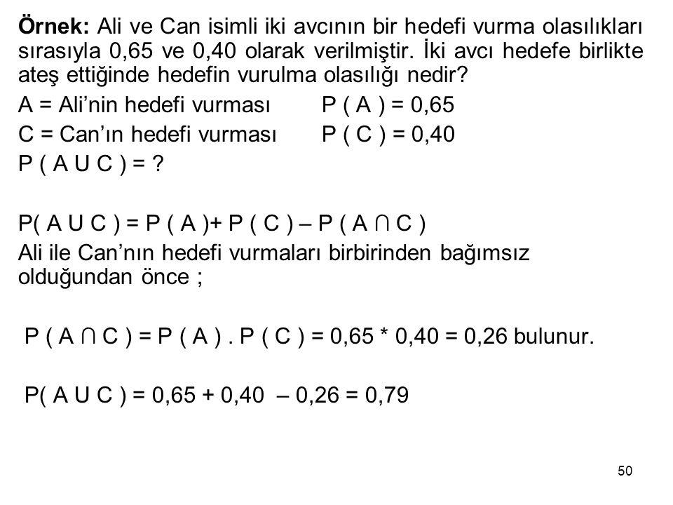 Örnek: Ali ve Can isimli iki avcının bir hedefi vurma olasılıkları sırasıyla 0,65 ve 0,40 olarak verilmiştir. İki avcı hedefe birlikte ateş ettiğinde hedefin vurulma olasılığı nedir