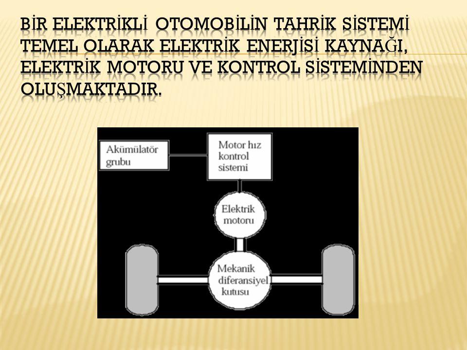 Bİr elektrİklİ otomobİlİn tahrİk sİstemİ temel olarak elektrİk enerjİsİ kaynağI, elektrİk motoru ve kontrol sİstemİnden oluşmaktadIr.