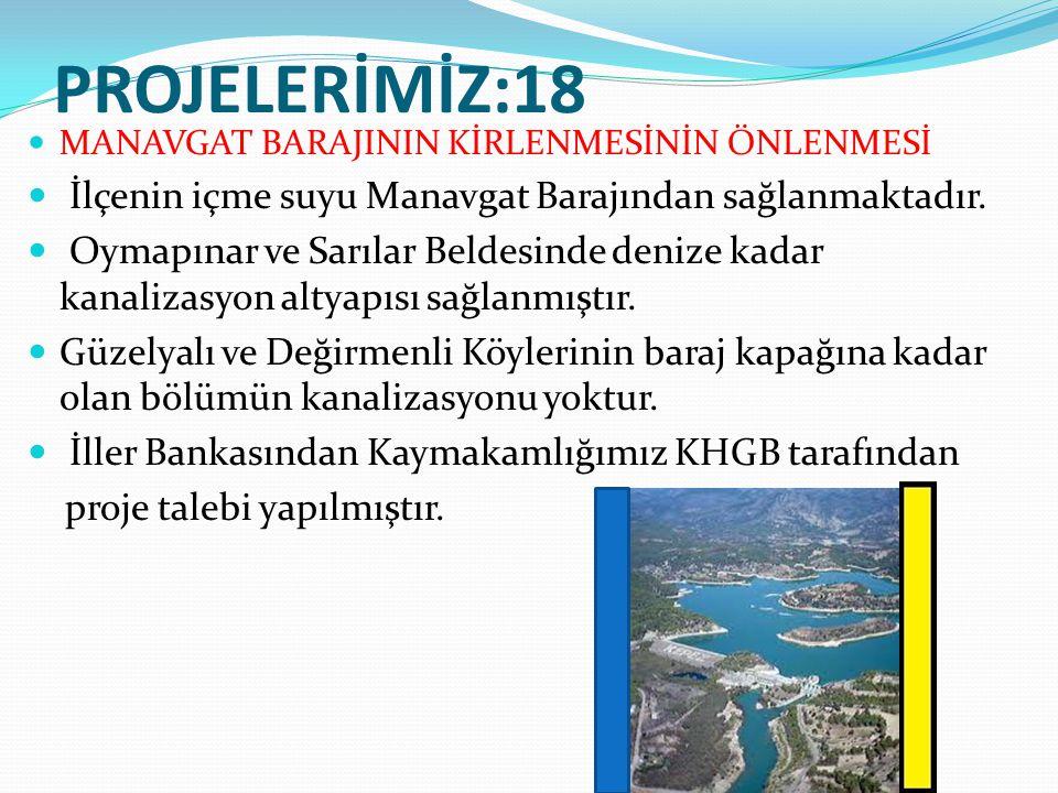 PROJELERİMİZ:18 İlçenin içme suyu Manavgat Barajından sağlanmaktadır.