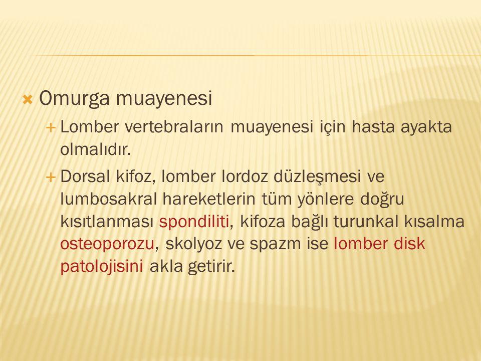 Omurga muayenesi Lomber vertebraların muayenesi için hasta ayakta olmalıdır.