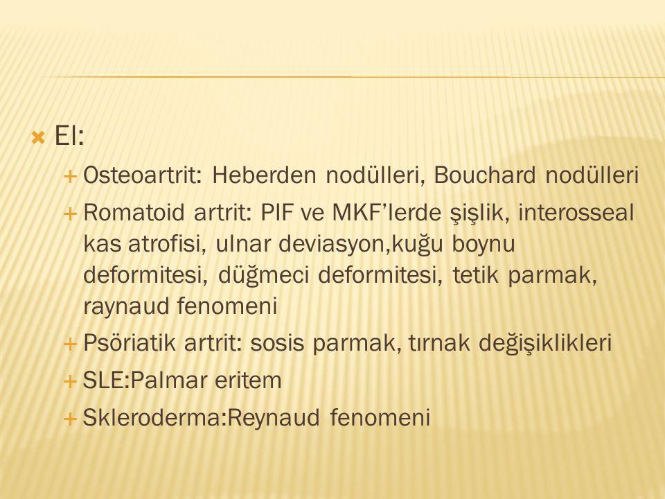 El: Osteoartrit: Heberden nodülleri, Bouchard nodülleri