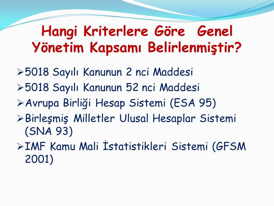 Hangi Kriterlere Göre Genel Yönetim Kapsamı Belirlenmiştir