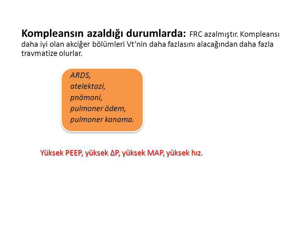 Kompleansın azaldığı durumlarda: FRC azalmıştır