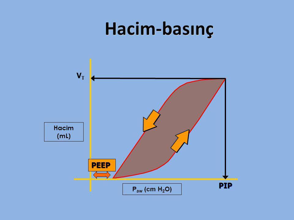 Hacim-basınç VT PIP Hacim (mL) PEEP Paw (cm H2O)