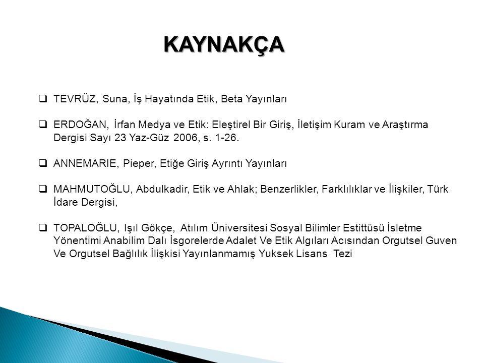 KAYNAKÇA TEVRÜZ, Suna, İş Hayatında Etik, Beta Yayınları