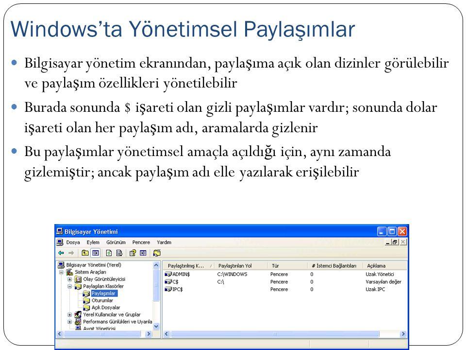 Windows'ta Yönetimsel Paylaşımlar