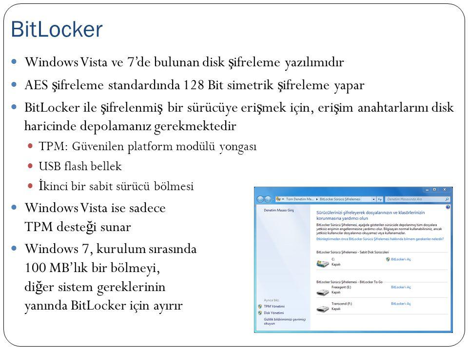 BitLocker Windows Vista ve 7'de bulunan disk şifreleme yazılımıdır