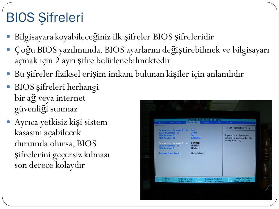 BIOS Şifreleri Bilgisayara koyabileceğiniz ilk şifreler BIOS şifreleridir.