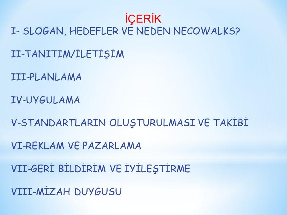 İÇERİK I- SLOGAN, HEDEFLER VE NEDEN NECOWALKS II-TANITIM/İLETİŞİM