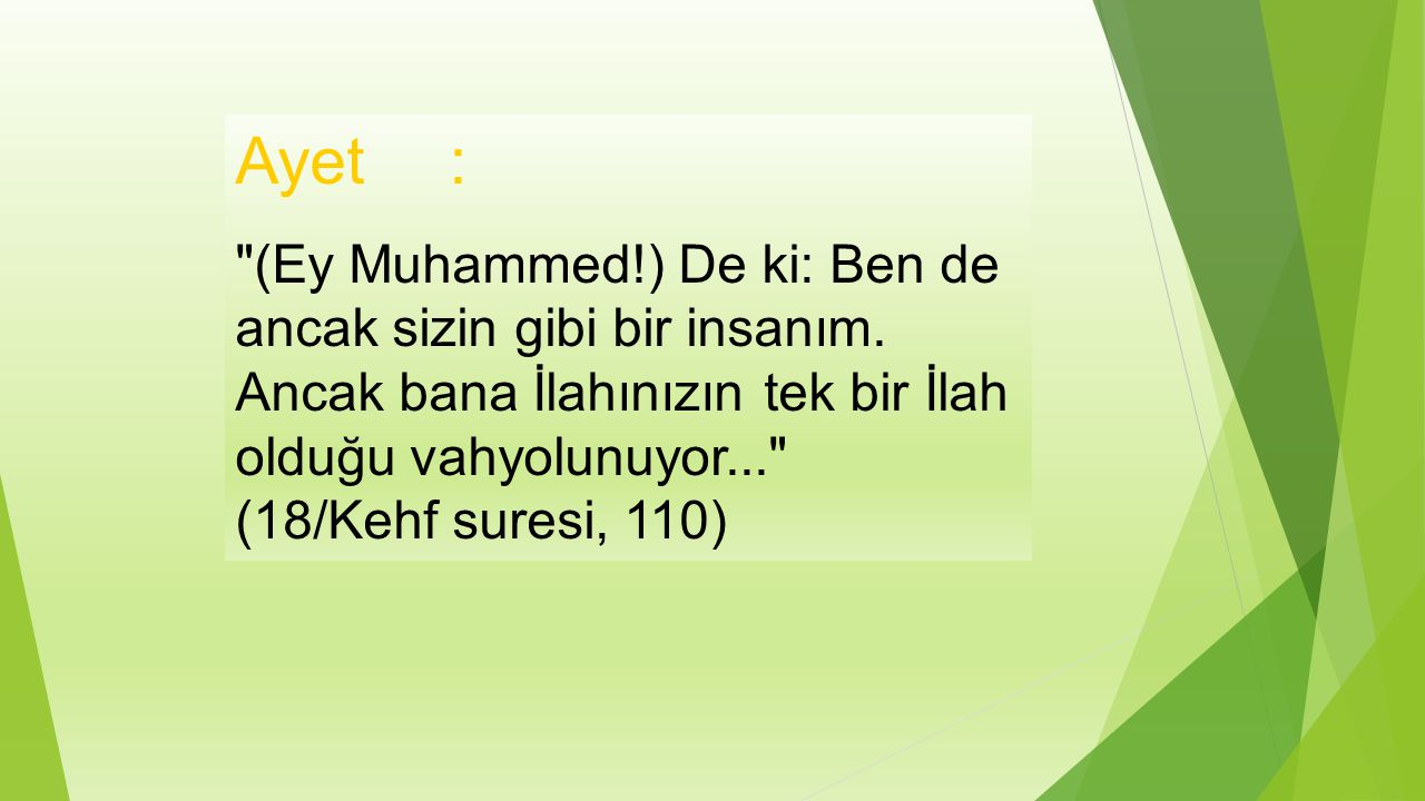 Ayet : (Ey Muhammed!) De ki: Ben de ancak sizin gibi bir insanım.