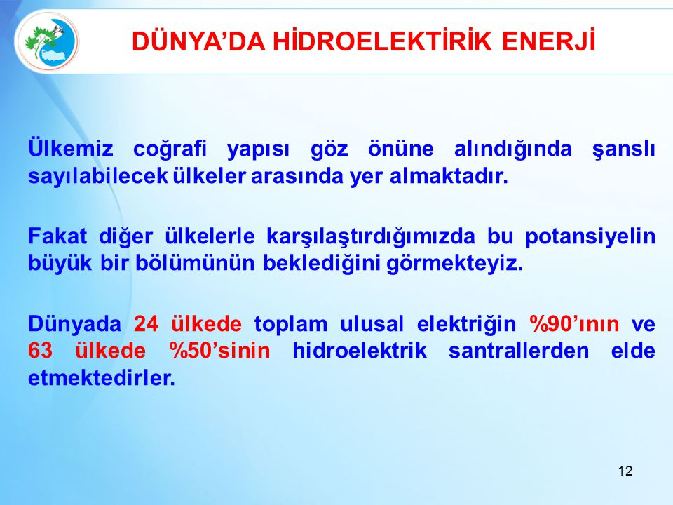 DÜNYA'DA HİDROELEKTİRİK ENERJİ