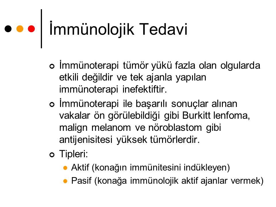 İmmünolojik Tedavi İmmünoterapi tümör yükü fazla olan olgularda etkili değildir ve tek ajanla yapılan immünoterapi inefektiftir.