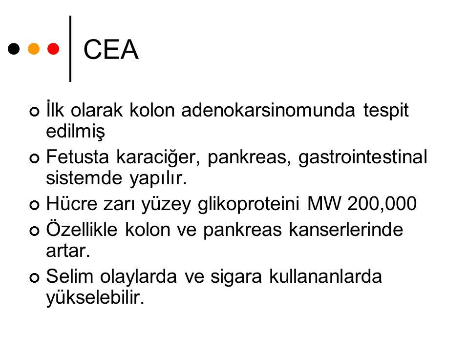 CEA İlk olarak kolon adenokarsinomunda tespit edilmiş