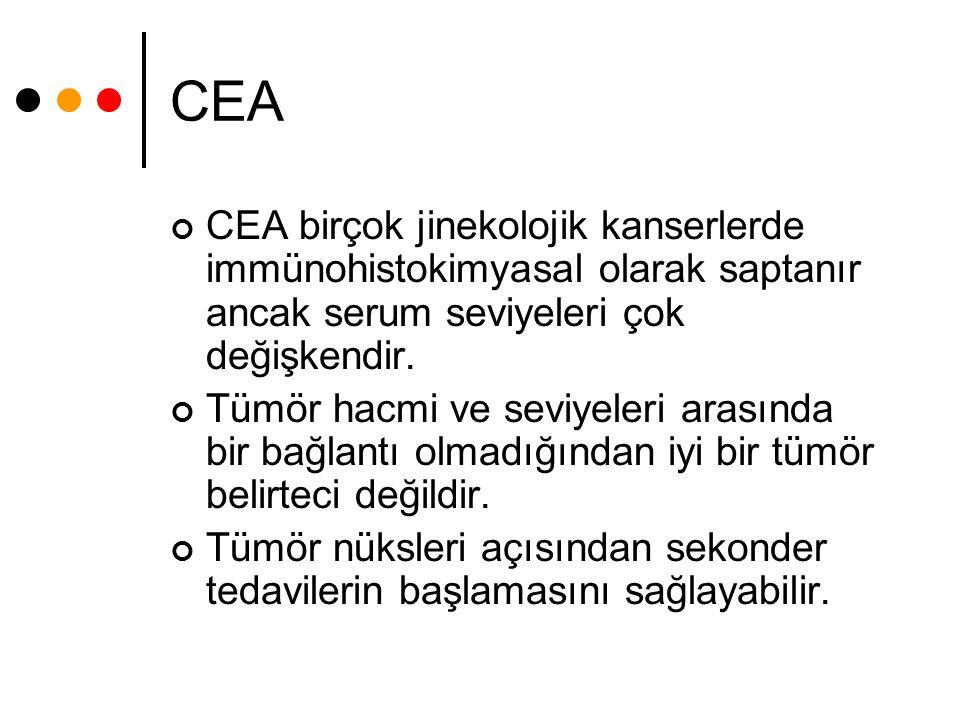CEA CEA birçok jinekolojik kanserlerde immünohistokimyasal olarak saptanır ancak serum seviyeleri çok değişkendir.