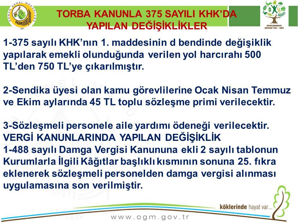 TORBA KANUNLA 375 SAYILI KHK'DA YAPILAN DEĞİŞİKLİKLER
