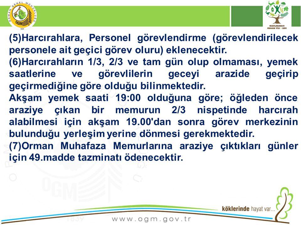 (5)Harcırahlara, Personel görevlendirme (görevlendirilecek personele ait geçici görev oluru) eklenecektir.