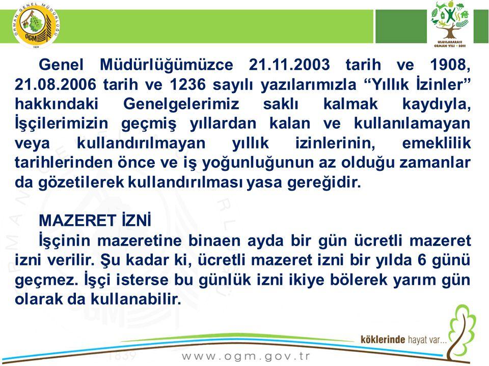 Genel Müdürlüğümüzce 21. 11. 2003 tarih ve 1908, 21. 08