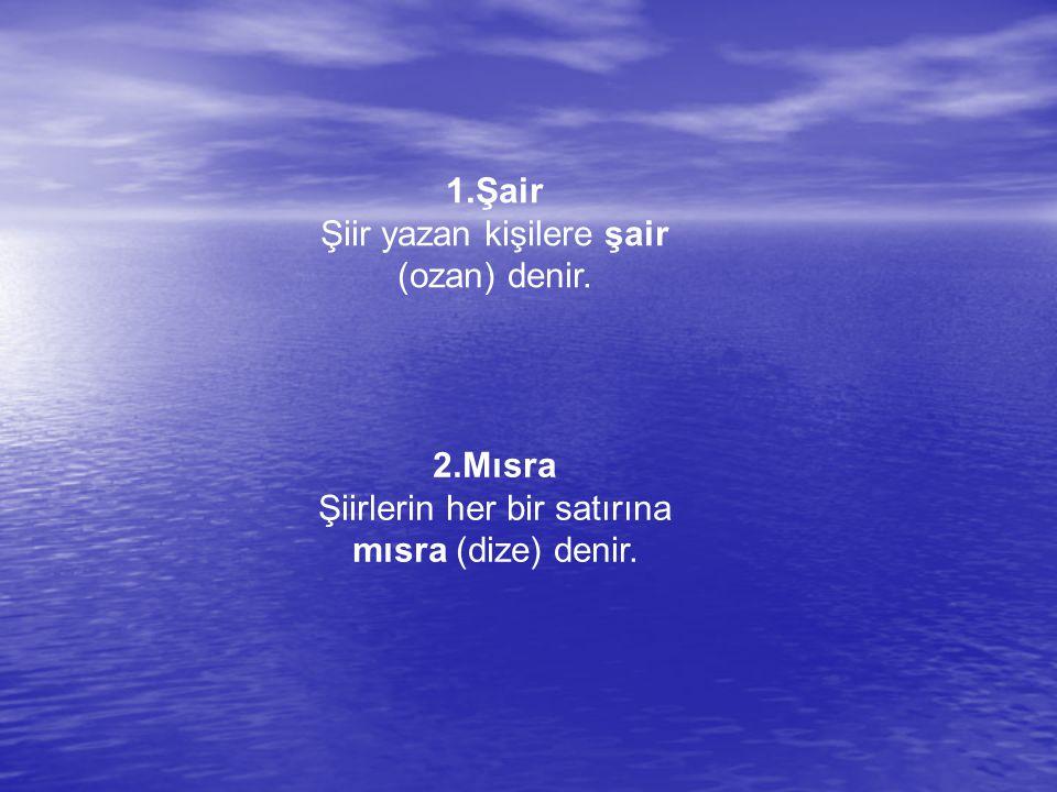 Şiir yazan kişilere şair (ozan) denir.