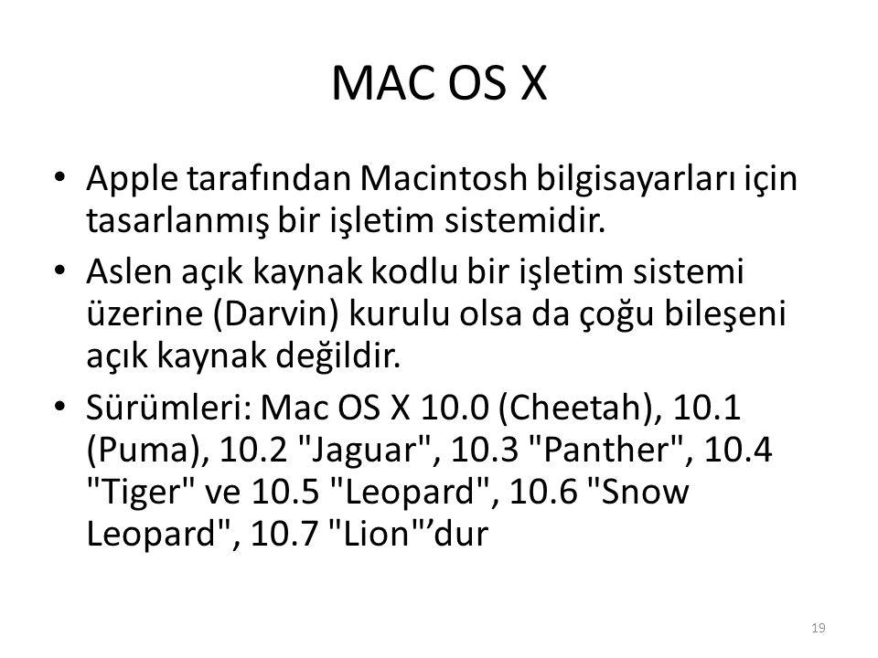 MAC OS X Apple tarafından Macintosh bilgisayarları için tasarlanmış bir işletim sistemidir.