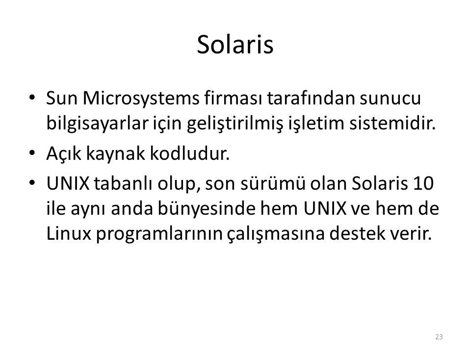 Solaris Sun Microsystems firması tarafından sunucu bilgisayarlar için geliştirilmiş işletim sistemidir.