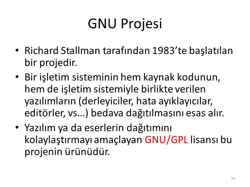 GNU Projesi Richard Stallman tarafından 1983'te başlatılan bir projedir.