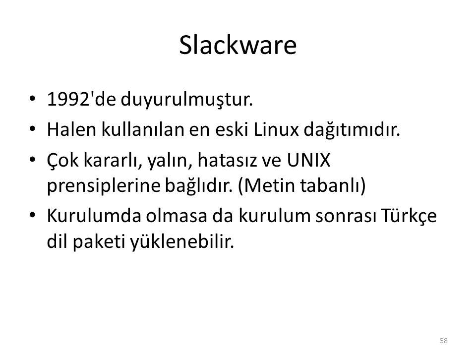 Slackware 1992 de duyurulmuştur.