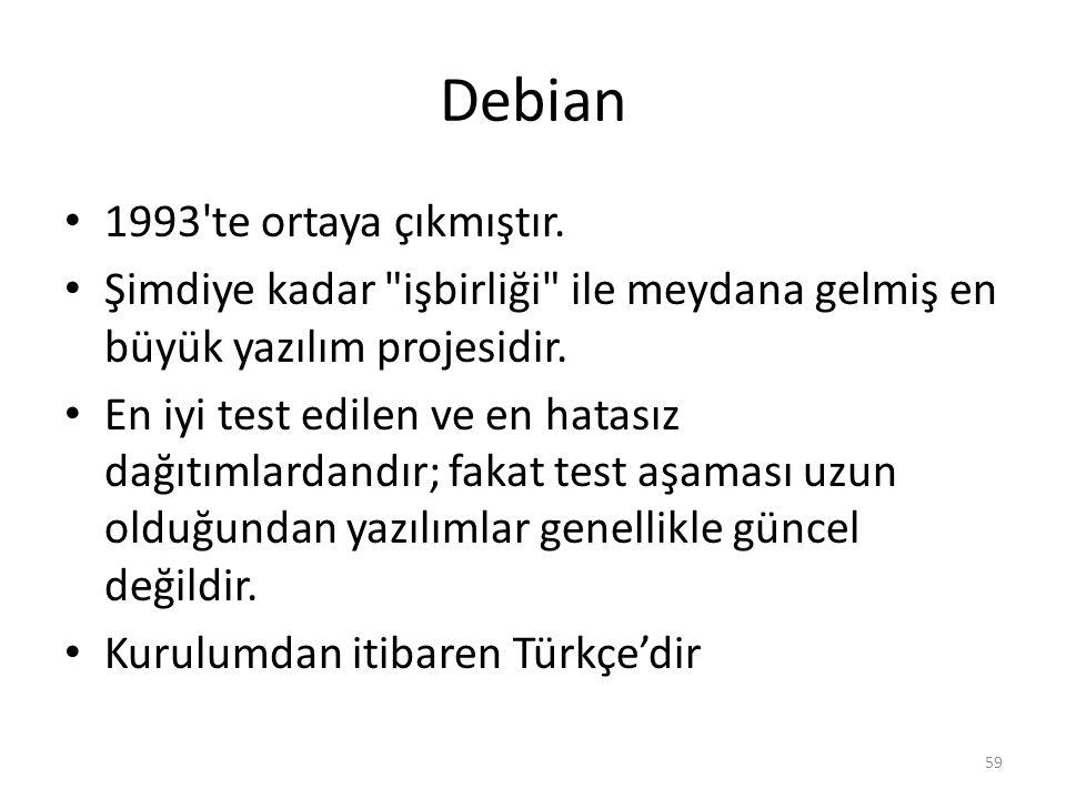 Debian 1993 te ortaya çıkmıştır.
