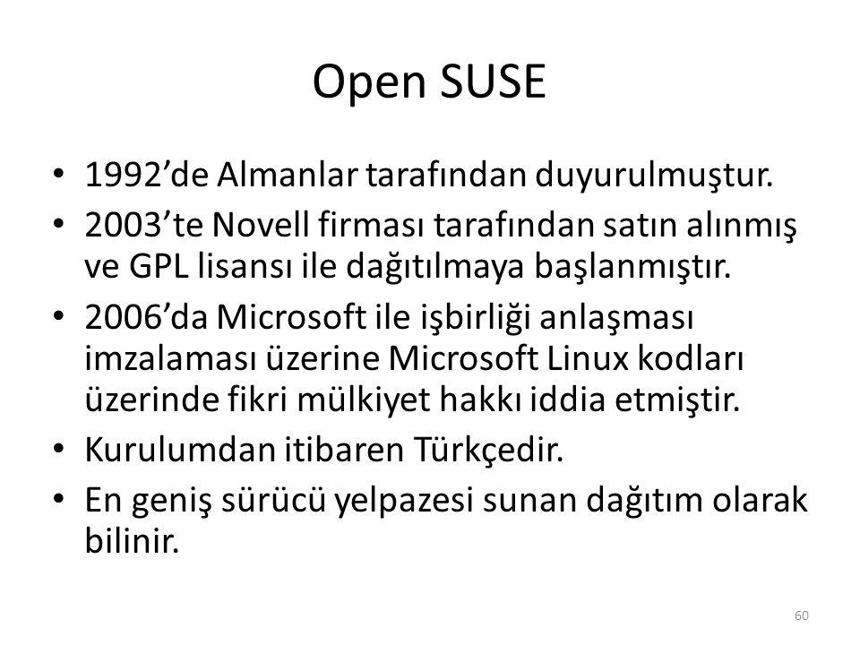 Open SUSE 1992'de Almanlar tarafından duyurulmuştur.