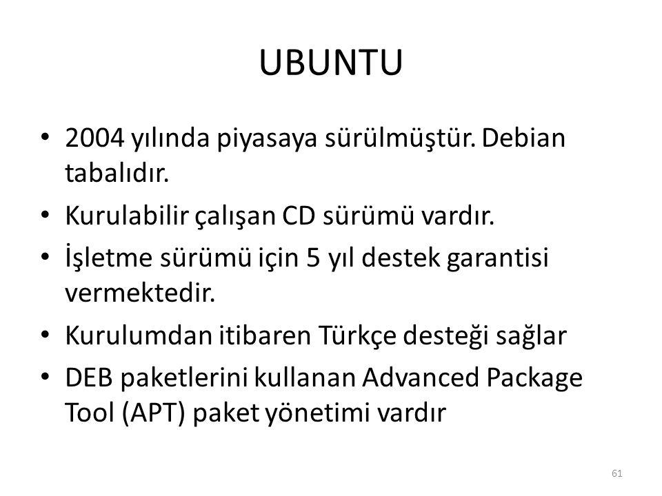 UBUNTU 2004 yılında piyasaya sürülmüştür. Debian tabalıdır.