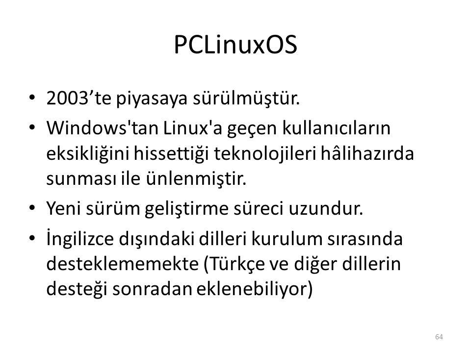 PCLinuxOS 2003'te piyasaya sürülmüştür.