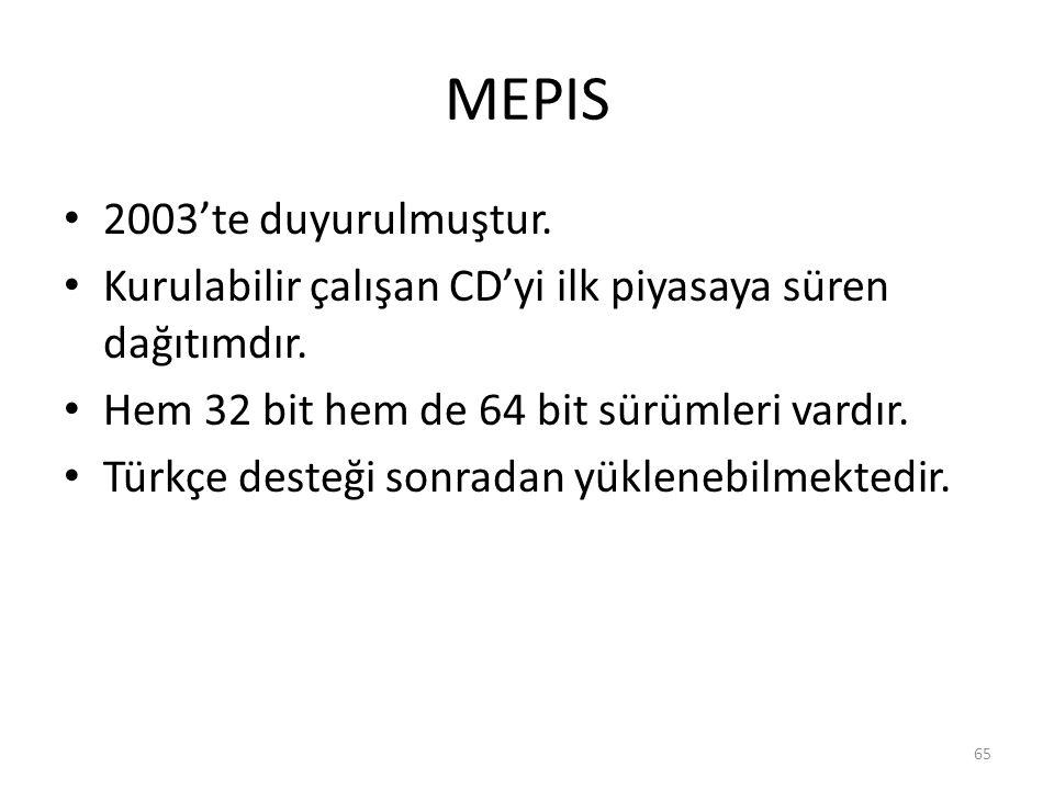 MEPIS 2003'te duyurulmuştur.