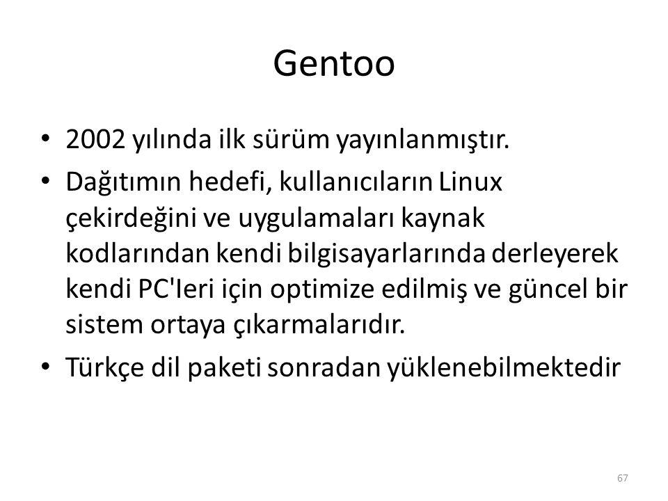 Gentoo 2002 yılında ilk sürüm yayınlanmıştır.