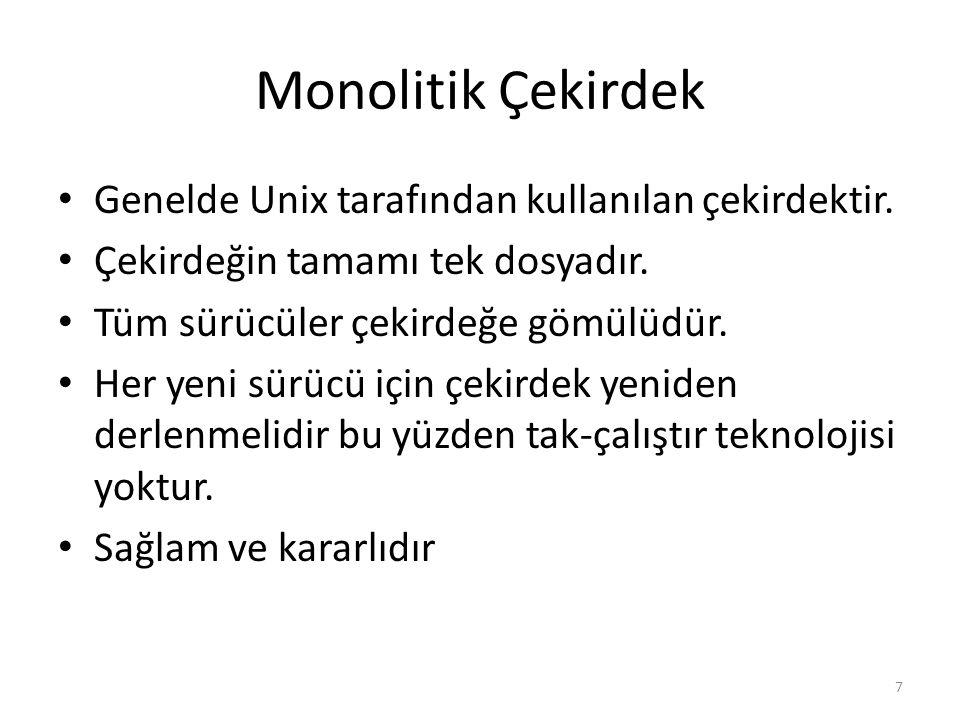 Monolitik Çekirdek Genelde Unix tarafından kullanılan çekirdektir.