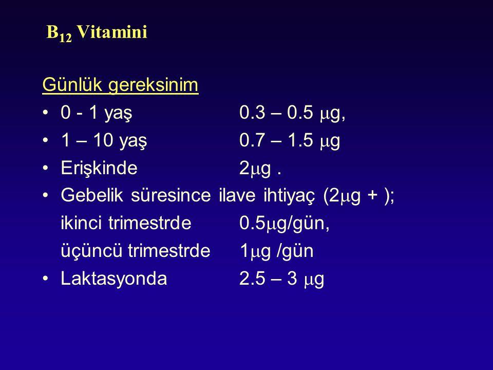 B12 Vitamini Günlük gereksinim. 0 - 1 yaş 0.3 – 0.5 g, 1 – 10 yaş 0.7 – 1.5 g. Erişkinde 2g .