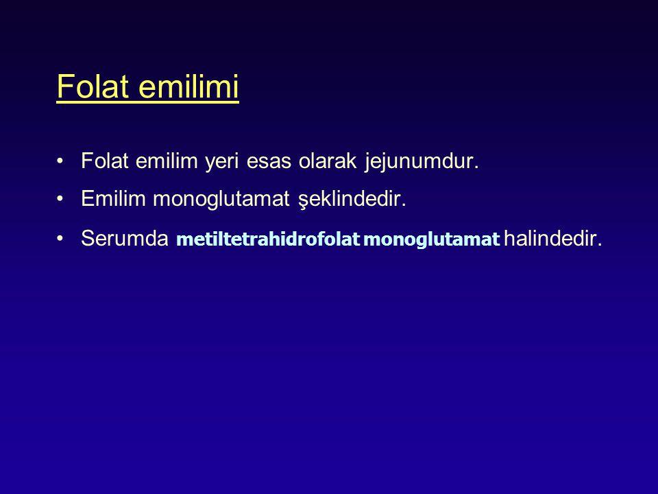Folat emilimi Folat emilim yeri esas olarak jejunumdur.