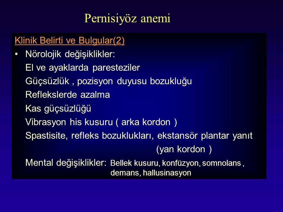 Pernisiyöz anemi Klinik Belirti ve Bulgular(2)