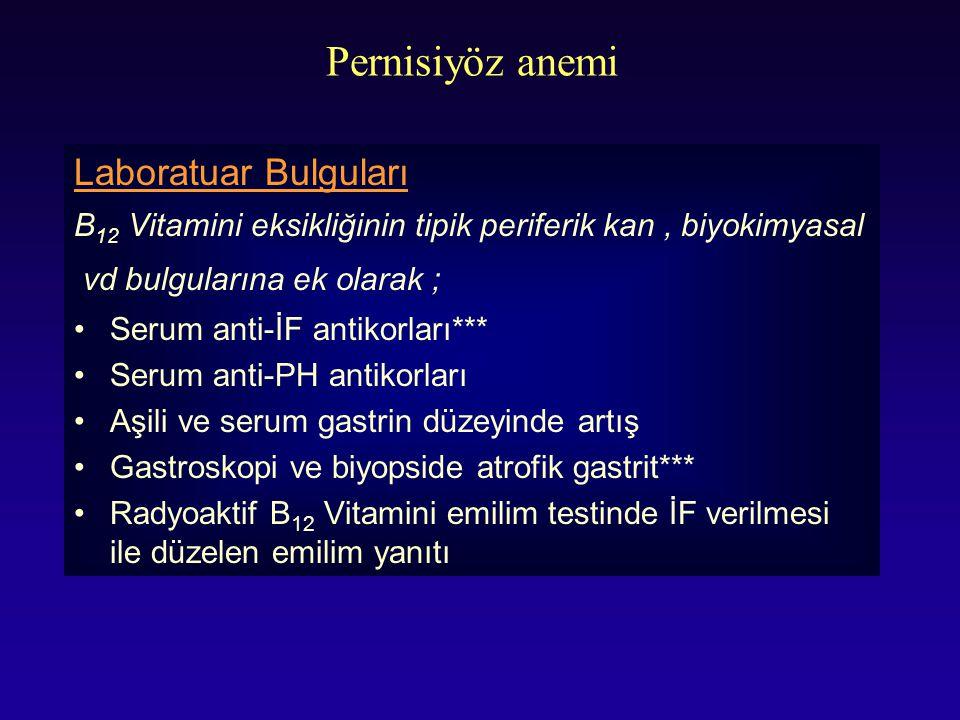 Pernisiyöz anemi Laboratuar Bulguları