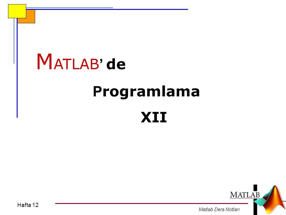 MATLAB' de Programlama XII Hafta 12 Matlab Ders Notları