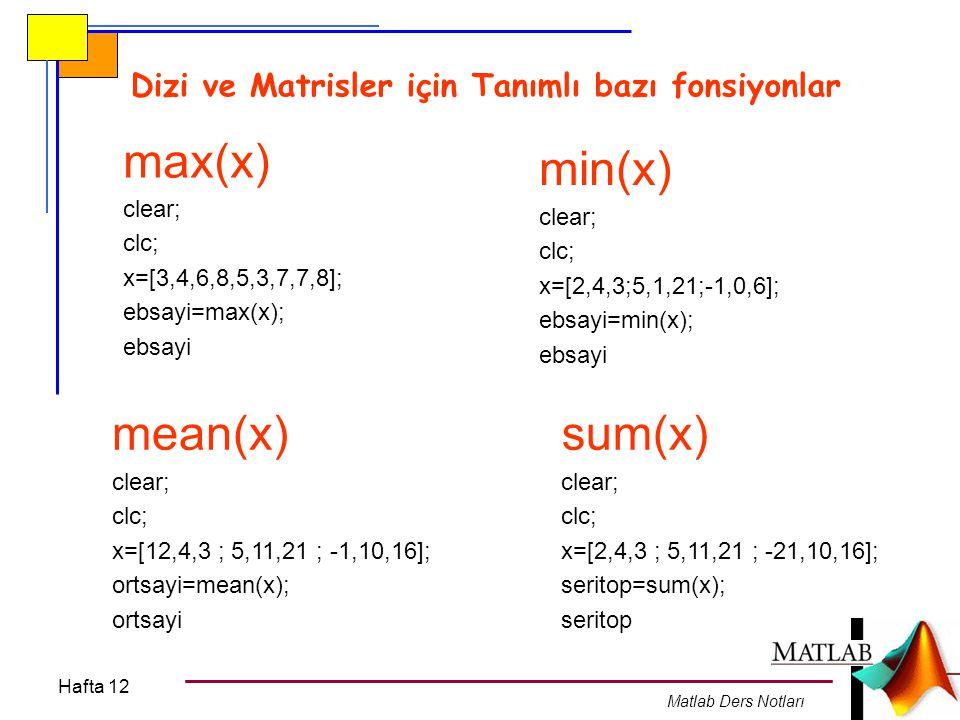 max(x) min(x) mean(x) sum(x)