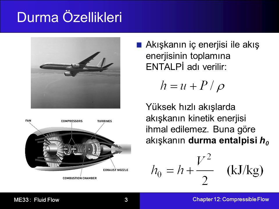 Durma Özellikleri Akışkanın iç enerjisi ile akış enerjisinin toplamına ENTALPİ adı verilir: