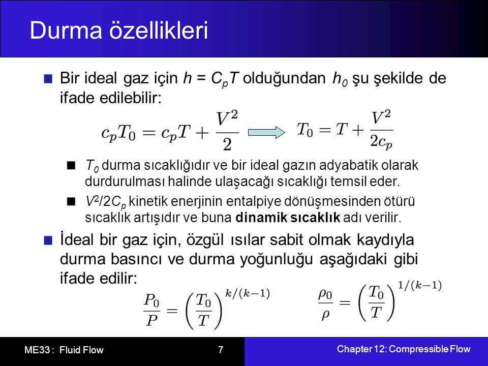 Durma özellikleri Bir ideal gaz için h = CpT olduğundan h0 şu şekilde de ifade edilebilir: